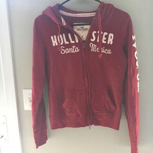 Hollister Red Full Zip Sweatshirt